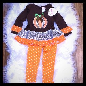 Beautiful Pumpkin Ruffle Tunic with Leggings